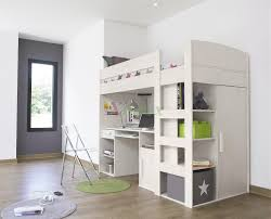 light brown teenage loft bed with desk faced off portable bookcase