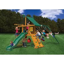 gorilla playsets ozark cedar wooden swing set walmart com