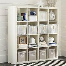 Land Of Nod Bookshelf Six Cube White Wide Bookcase