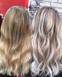 ash brown hair with pale blonde highlights before after transformation snow white blonde platinum balayage