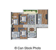 Floor Plan Of An Apartment Clipart Of 3d Floor Plan Computer Generated Floor Plan Of A