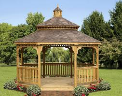 Wooden Screen Gazebos by Treated Pine Double Roof Octagon Gazebos With Screened Floor