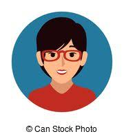 front face elderly woman with glasses and short hair vector