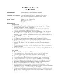 Sle Cover Letter For Basketball Coaching Position basketball coach resume pertamini co