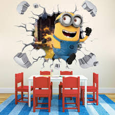 popular minion wall decals buy cheap minion wall decals lots from kids bedroom wall decor 3d minion sticker removable wall pictures for living room art baby wall