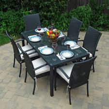 Patio Dining Set With Bench - clearance patio dining sets furniture black rectangle modern