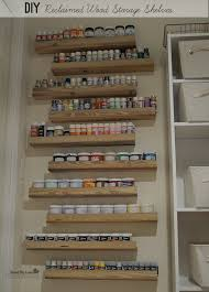 diy reclaimed wood craft paint storage shelves