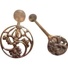 japanese antique pair of kogai 簪 kanzashi hair ornament of wood