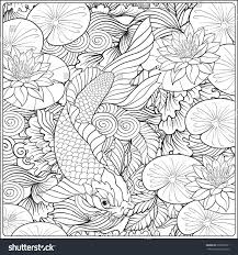 fish outline coloring page japanese landscape lotus fish outline drawing stock vector