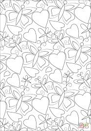 hearts and butterflies pattern coloring page free printable