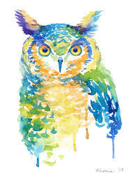 owl item cool color owl watercolor print abstract birds trendy