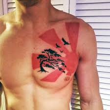 flying birds and black tree on chest