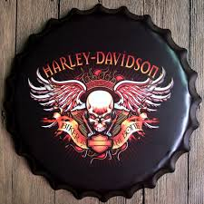 40cm harley davidson bottle cap vintage home decor tin sign bar