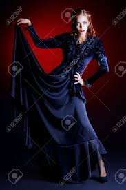 halloween background portrait full length portrait of a gorgeous vampire woman in black medieval