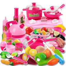 Toy Kitchen Set Food Pretend Play Kitchen Set For Kids 42 Piece Pink Cooking Bake Food