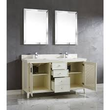 inch white finish cottage double sink bathroom vanity cabinet with