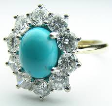 turquoise wedding rings european engagement ring oval turquoise flower halo ring
