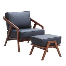 jens risom style grey lounge chair and ottoman emfurn