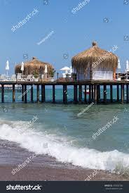 beautiful bungalows beautiful bungalows relaxation on beach stock photo 193400165