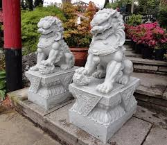 small temple dogs pair granite garden sculpture ornament