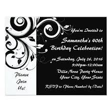 black and white 40th birthday invitations u0026 announcements zazzle