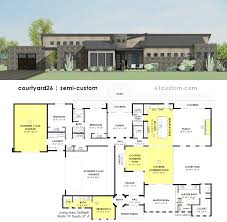 custom house plan contemporary side courtyard house plan 61custom contemporary