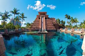 the mayan slide goes into shark infested waters at the atlantis