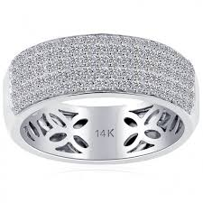 mens wedding band with diamonds 1 17 carat diamond mens pave wedding band ring 14k white