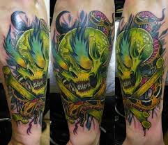 skull with snake in toxic colors skull tattoos