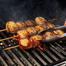 Bacon Main Dishes - bacon wrapped scallop skewers grill mates