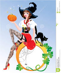 stockings halloween brunette pin up halloween wearing witch suit stock photo