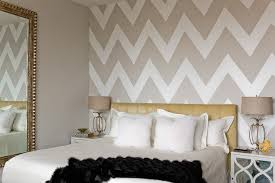 chevron wallpaper rolls bedroom transitional with tufted yellow