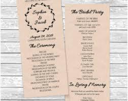 Easy Wedding Program Template Tea Length Program Etsy