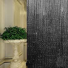 String Tassel Curtains Black String Door Curtain Beads Room Divider Crystal Tassel Fringe
