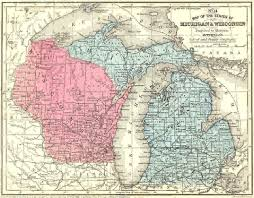 Snowmobile Trail Maps Michigan by 1861 Michigan Wisconsin Map
