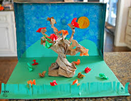 fall diorama with cereal box mess for less