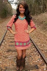 like the general idea of brightly colored dress with western boots