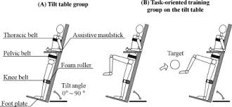tilt table protocol for physical therapy lower extremity muscle activation and function in progressive task