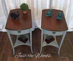 painted mahogany tables in mushroom gray with stain tops