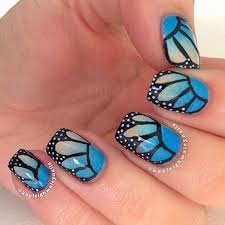 55 blue butterfly nail design idea
