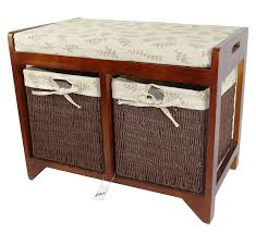 Seagrass Bench Geko 58 X 34 X 45 Cm Cambourne Wooden Storage Bench Amazon Co Uk
