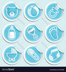 blue baby shower stickers royalty free vector image