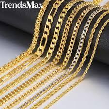 gold necklace men fashion images Trendsmax gold necklace for men women figaro rope snake cuban link jpg