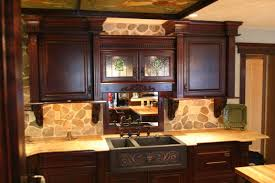 wood kitchen design ideas with dark cabinets and white chairs charming dark wood kitchen design ideas with stone wall design