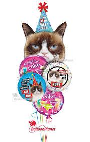 birthday balloons for him grumpy cat birthday balloon bouquet 5 balloons balloon