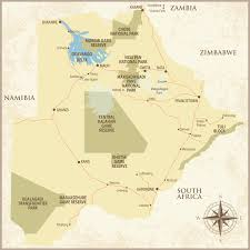 Kalahari Desert Map Botswana Revealing Africa