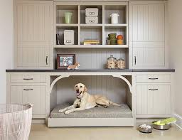 taupe mudroom cabinets with a built in dog bed 100 beautiful