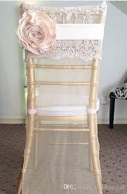 Wedding Chair Sash 2017 Chiffon Floral 3d Flower Wedding Chair Sashes Cheap Beautiful