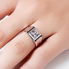 men s ring solid au750 white gold men s engagement g18k ring 1ct brilliance
