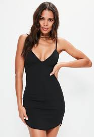 plunge dress black strappy plunge bodycon dress missguided